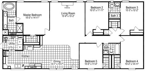 5 Bedroom 3 Bath Mobile Home Floor Plans by Floor Plans For Site Built Mobile And Modular Homes San