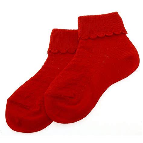 red pattern socks cotton rich scallop pattern childrens red socks cachet kids