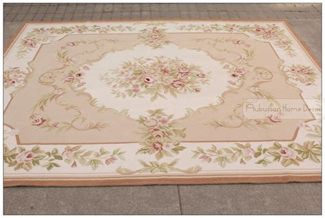 8 x10 wool hand woven shabby chic french style aubusson area rug carpet pink ivory in rug from