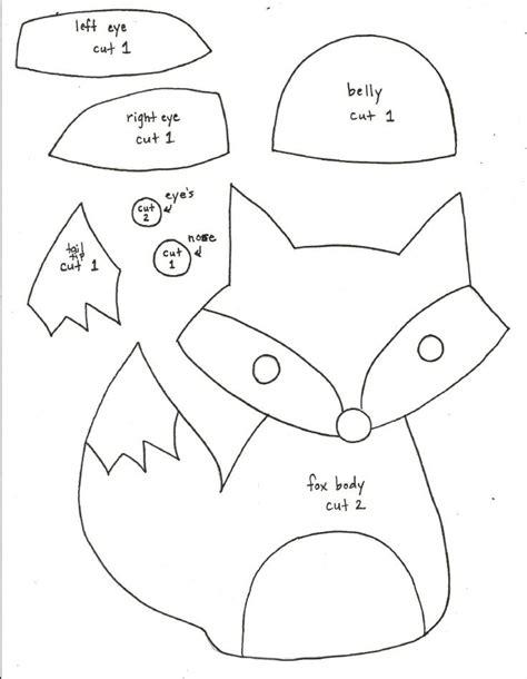 fox pattern pinterest printable fox pattern fox softie pattern templates