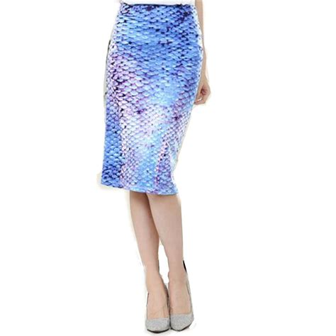 womens summer plus size skirts blue mermaid floral