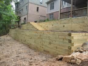 retaining walls wood aca landscaping