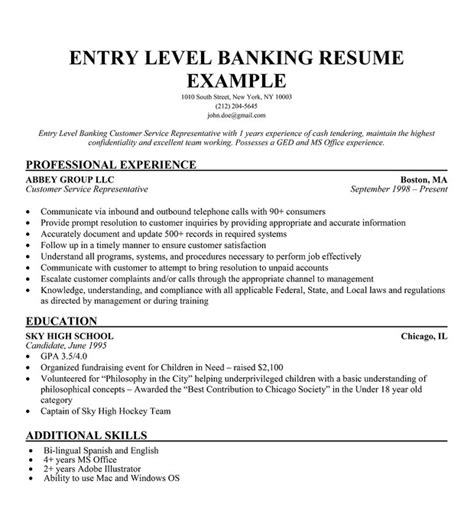 sle of entry level resume entry level resume exles whitneyport daily