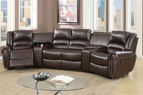 leather sectional sofas with recliners poundex malta f6748 brown leather reclining sectional