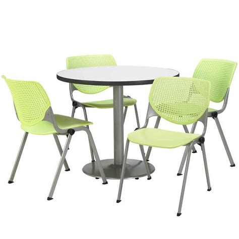 kfi silver base cafe table with four kool stack chairs