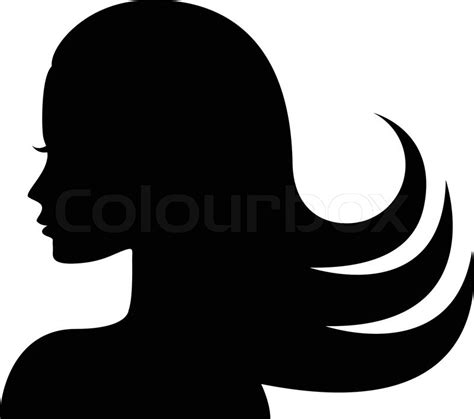 Frau Gesicht Silhouette im Profil   Vektorgrafik   Colourbox