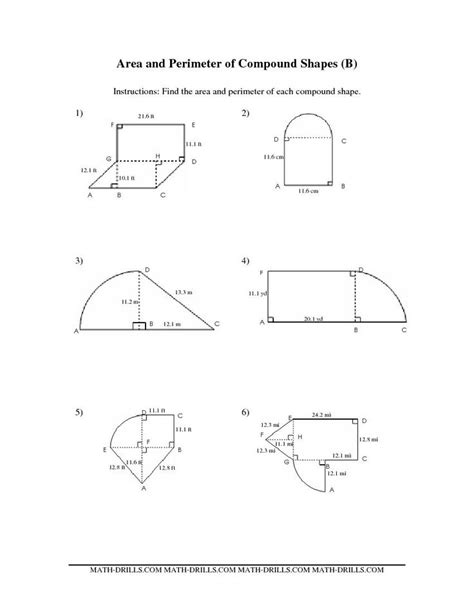Area Compound Shapes Worksheet Answers by Compound Area Worksheets The Area And Perimeter Of