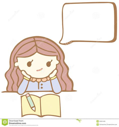 cute cartoon girl thinking royalty free stock photos cartoon girl thinking with white bubble space for your