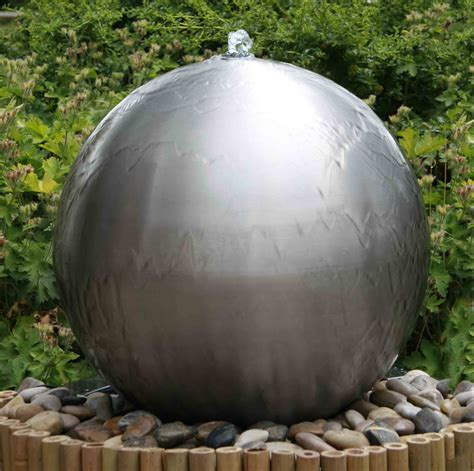 cm brushed stainless steel sphere water feature led
