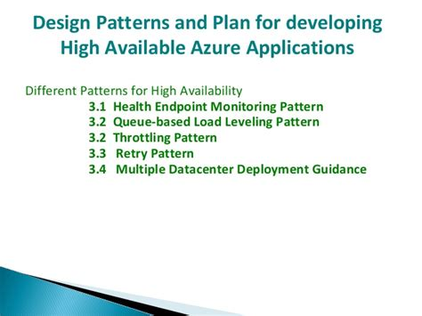 Application Design For High Performance And Availability | design patterns and plan for developing high available