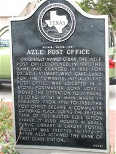 Azle Post Office near site of azle post office historical markers on waymarking
