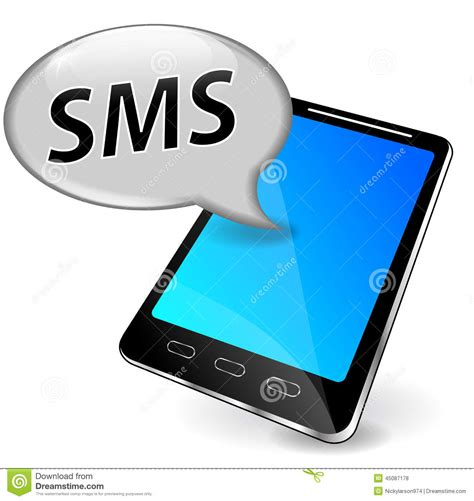 mobile sms in vector sms on mobile phone stock vector image of email