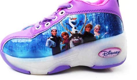 Sepatu Sekolah Anak Frozen Ori Disney detail sepatu roda satu frozen ungu toko bunda