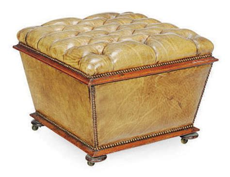 victorian ottoman a victorian button tufted leather covered ottoman late