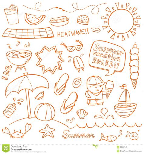 doodle summer summer doodles stock vector image of august doodle