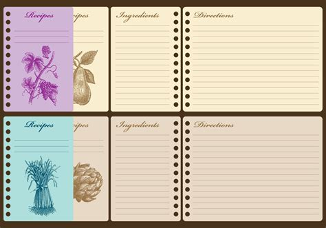 recipe card template free vector vintage recipe cards free vector stock