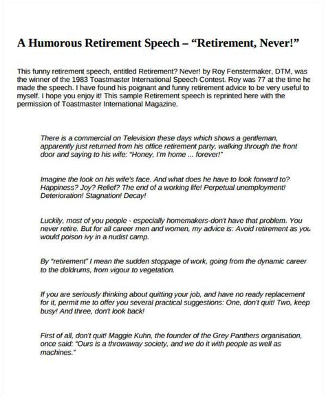 retirement speech template 7 retirement speech exles sles