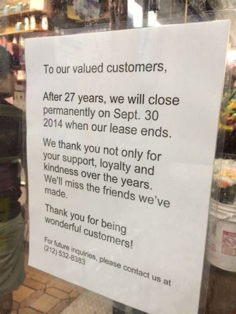Closing Restaurant Letter To Customers Tribeca Citizen Seen Heard Another Deli Is Closing