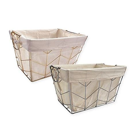 bed bath and beyond baskets herringbone wire basket with liner bed bath beyond