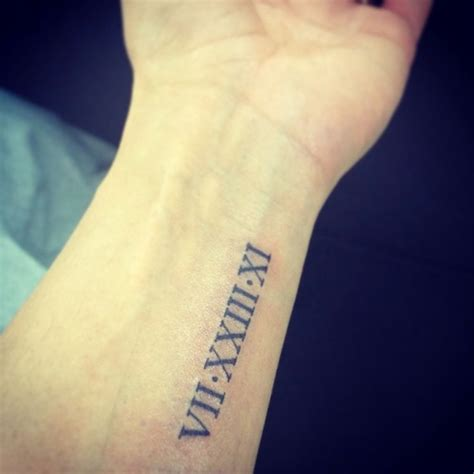 date of birth wrist tattoos wedding date numeral arm vii xxiii xi 4