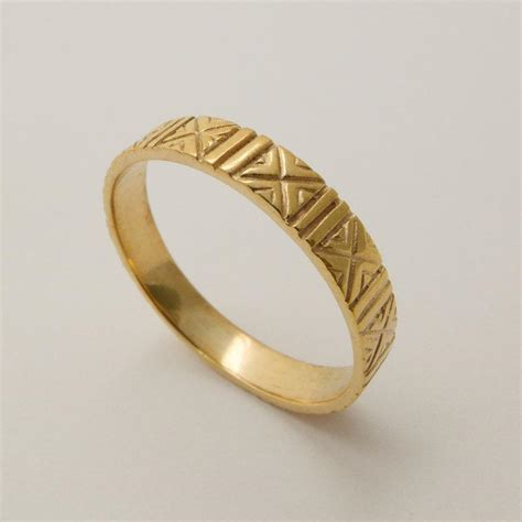 Handmade Gold Wedding Bands - engraved 14 karat gold wedding ring patterned wedding