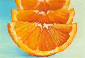 orange painting matted print of an original oil pastel painting of orange