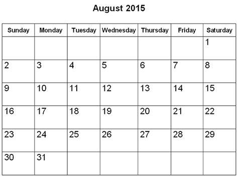 August 2015 Printable Calendar Free Printable Calendar 2018 Free Printable Calendar August