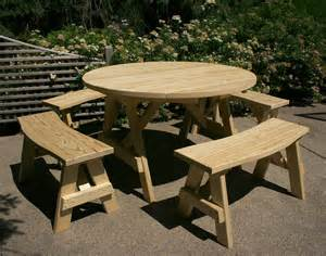 6 Piece Outdoor Furniture Set by Treated Pine Round Picnic Table