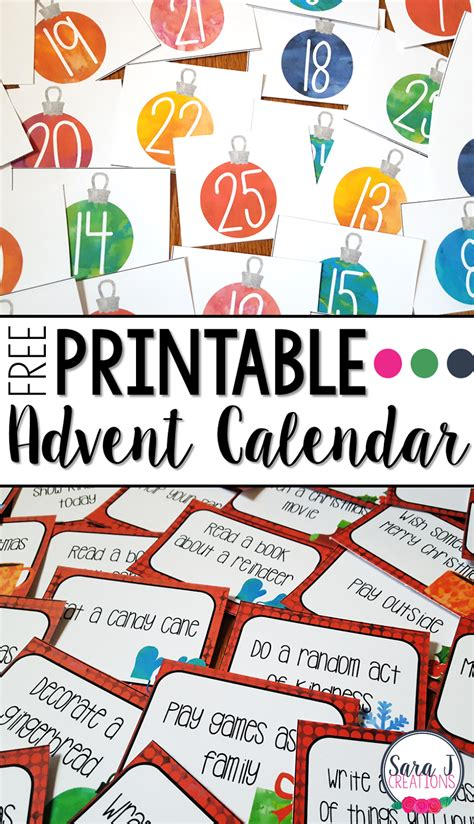 printable advent calendar coupons free printable advent calendar sara j creations