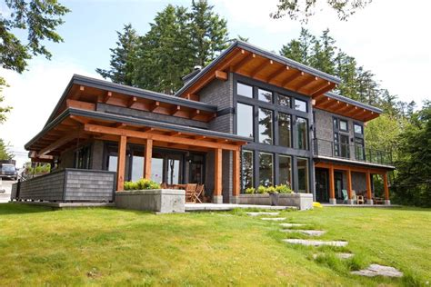 overhanging eaves exterior contemporary with grass brown