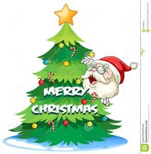 santa hiding at the back of the christmas tree stock