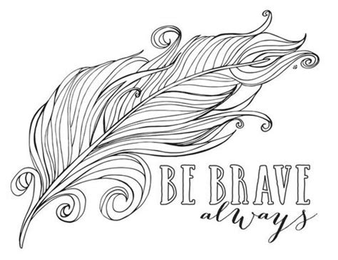 feather coloring page always be brave feather coloring pages for abstract