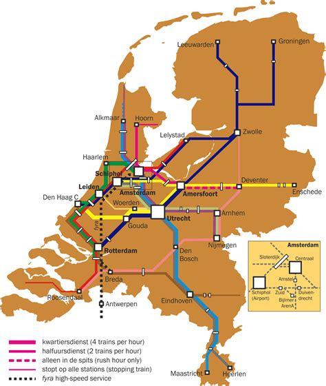 netherlands map ns netherlands rail map