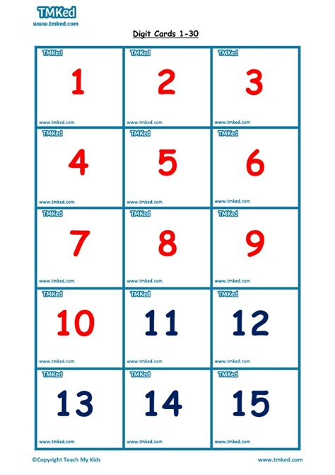 printable number flashcards 1 30 1 30 number flashcards tmk education