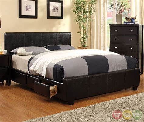 Burlington Bedroom Furniture Burlington Contemporary Espresso Platform Bedroom Set With Padded Leatherette Cm7009