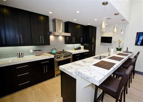 t shaped kitchen island with wooden countertop home choose the best marble countertop design for your kitchen