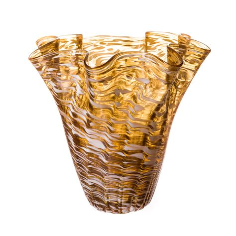blown glass vase in gold and white
