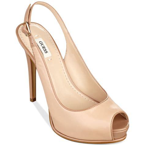 guess huela platform sandals in beige lyst