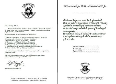 Hogwarts Acceptance Letter Editable Hogwarts Letters Second Year And Hogsmeade Form By Decat