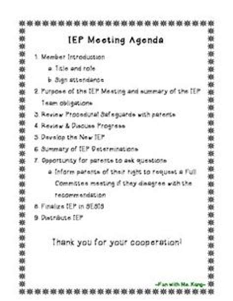 iep meeting agenda template 1000 images about iep meetings on
