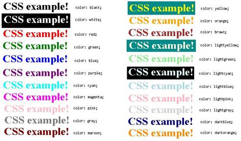 css colors names html color names css