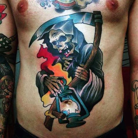 color tattoo designs for men top 100 best stomach tattoos for masculine ideas