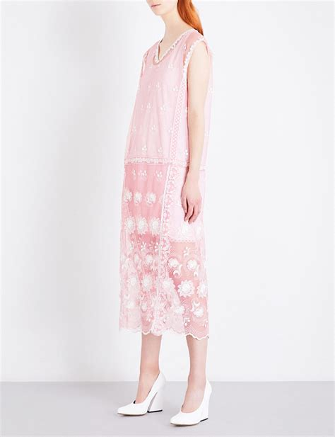 Midi Dress Burberry Benhur Murah lyst burberry floral embroidered tulle midi dress in pink