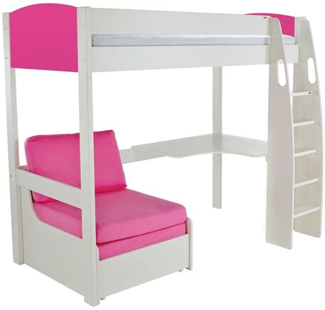 high sleeper beds with desk and futon buy stompa pink high sleeper frame including desk and pink