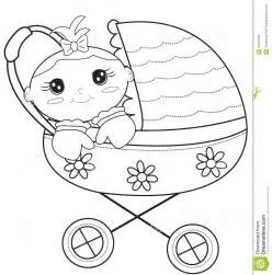 baby stroller coloring page stock illustration image
