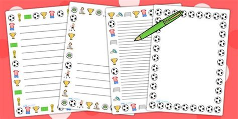 lined paper with football border football page borders aoife 21st twinkl pinterest