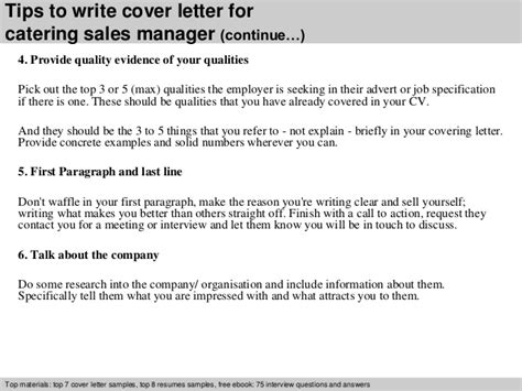 Sle Letter In Catering Catering Sales Manager Cover Letter