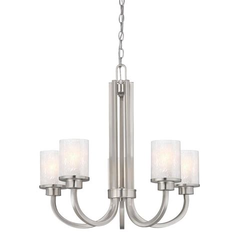 Nickel Chandelier Westinghouse Ramsgate 5 Light Brushed Nickel Chandelier With Glass Shades 6308000 The Home