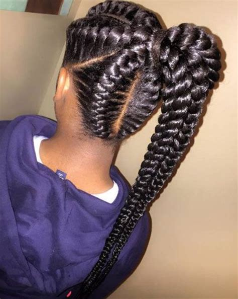 african american braid up into a ponytail braid hairstyles for black women 6 braid hairstyles