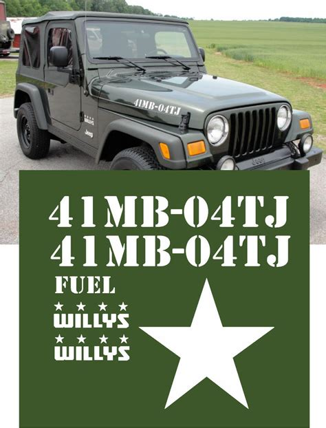 04 Us Army Jeep Wrangler Military Willys Decals Sticker